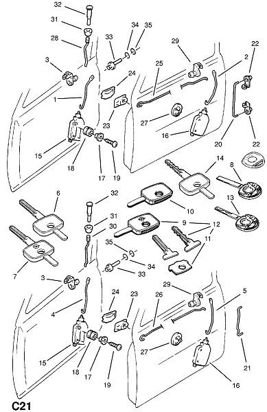 Запирающий механизм передней двери (Внутренние приспособления для кузова)
