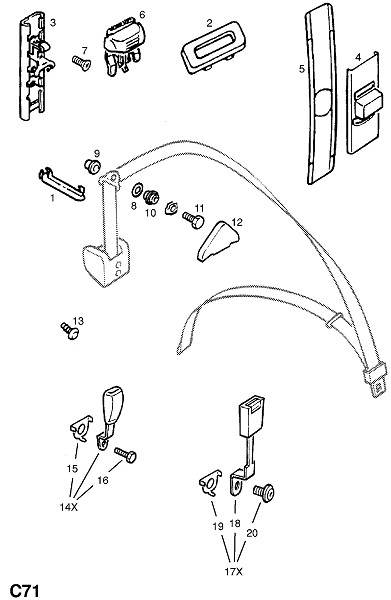 Ремни переднего сидения и фитинги (Внутренние приспособления для кузова)