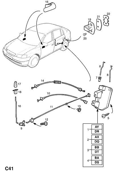 Механизм замыкания задней двери (Внутренние приспособления для кузова)