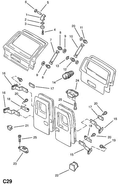 Дверная петля задней двери и крепления (Внутренние приспособления для кузова)