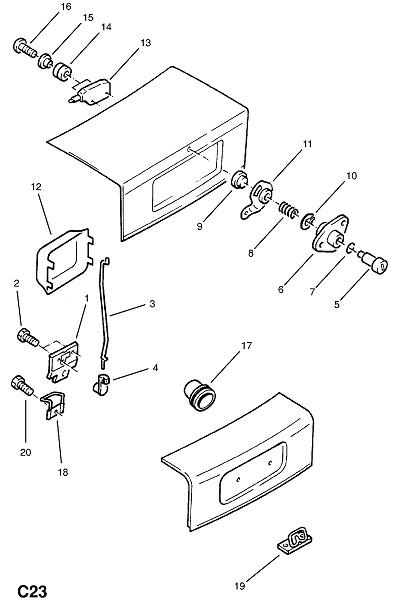 Механизм замыкания крышки багажника (Внутренние приспособления для кузова)
