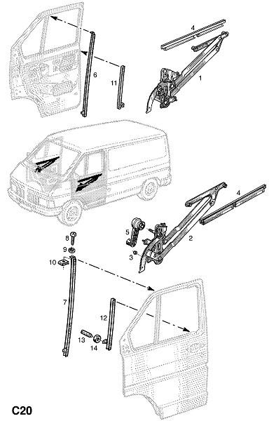 Оконный механизм передней двери (Внутренние приспособления для кузова)