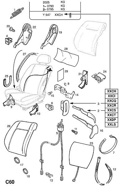 Рама переднего сидения и фитинги - для спортивного сидения (Внутренние приспособления для кузова)