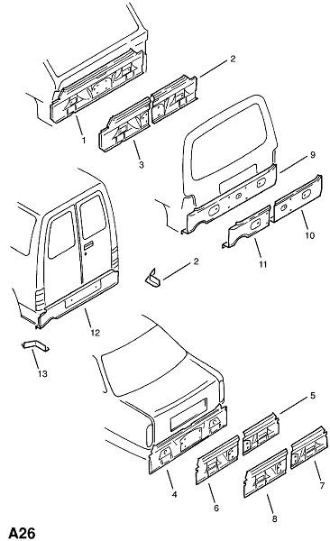 Задняя концевая панель (Каркас и панели кузова)