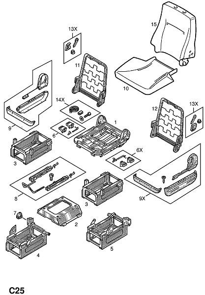 Рама переднего сидения и фитинги (Внутренние приспособления для кузова)