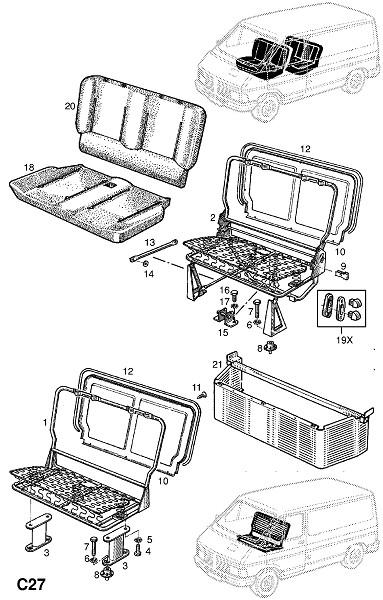 Рама и крепления переднего многоместного сидения (Внутренние приспособления для кузова)