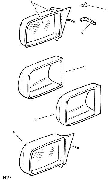 Зеркало заднего вида двери - с ручным приводом (Внешние приспособления для кузова)
