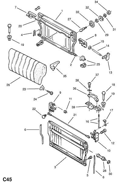 Рама и фитинги заднего сидения - исключая раздельное сидение (Внутренние приспособления для кузова)