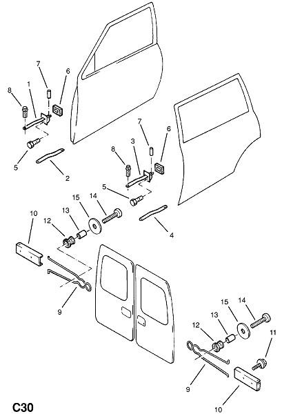 Ограничитель открытия передней и задней двери (Внутренние приспособления для кузова)
