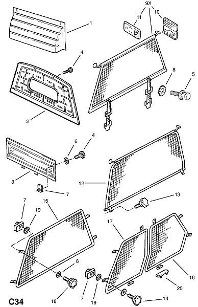 Перегородка кабины (Внутренние приспособления для кузова)