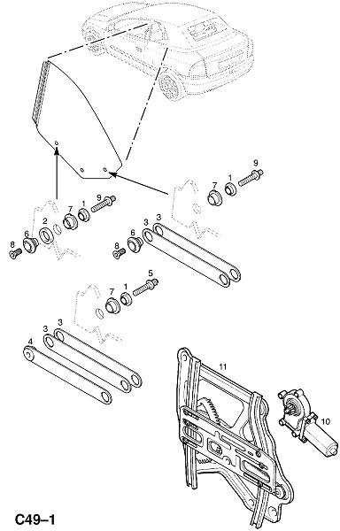 Механизм открытия окна панели задней четверти (Внутренние приспособления для кузова)