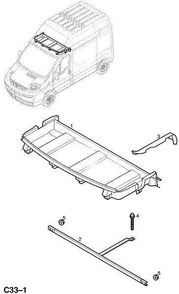 Вещевой ящик верхней установки (Внутренние приспособления для кузова)