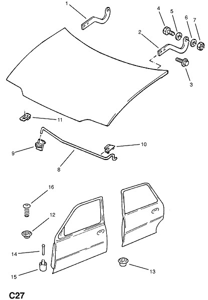 Петля и фитинги капота (Внутренние приспособления для кузова)