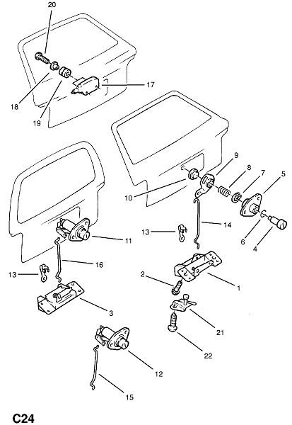 Замыкающий механизм задней откидной двери (Внутренние приспособления для кузова)