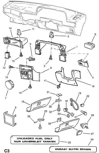 Фитинги приборного щитка (Внутренние приспособления для кузова)