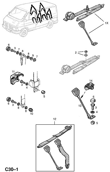 Ремни заднего сидения и фитинги (Внутренние приспособления для кузова)