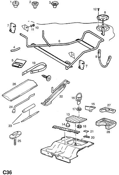 Фитинги запасного колеса (Внутренние приспособления для кузова)