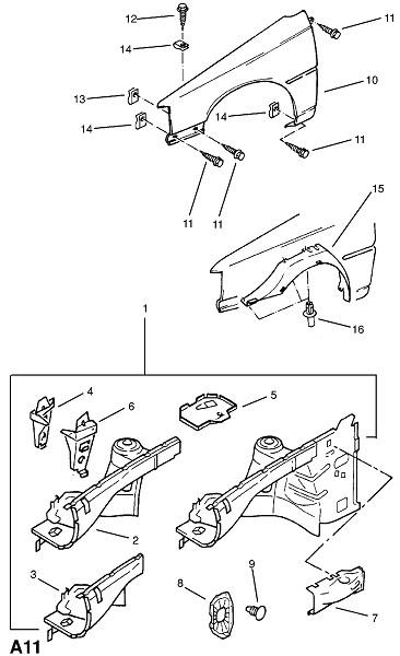 Передняя концевая часть (Каркас и панели кузова)