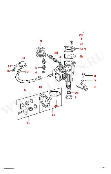 Вакуумный насос для моделей с сервотормозом (Двигатель, Сцепление)