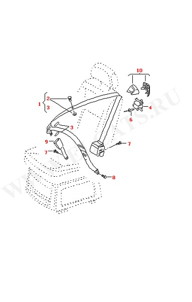 3-точечный ремень безопасности в салоне для моделей с персональными сиденьями (Кузов)
