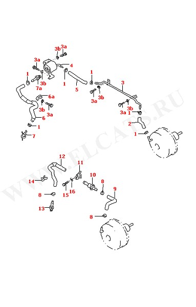 Вакуумные шланги для сервотормоза Вакуумный резервуар (Колеса, Тормозная система)