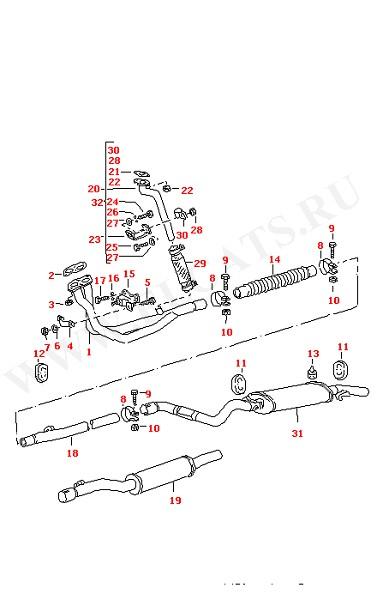 Выхлопная труба Промежуточная труба Глушитель, передняя часть (Топливная система, Система выпуска ОГ, Отопитель)