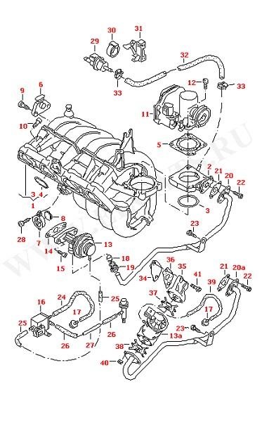 Впускная система Вакуумная система Блок управления дроссельной заслонкой (Двигатель, Сцепление)