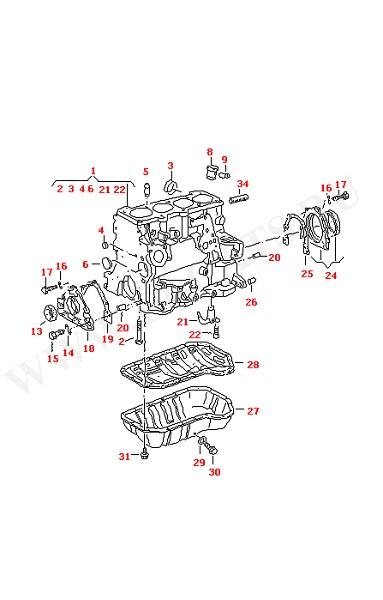 Блок цилиндров с поршнями Масляный поддон (Двигатель, Сцепление)