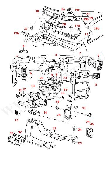 Воздуховоды отопителя салона и углублений для ног, воздушные шланги Дефлектор (Кузов)