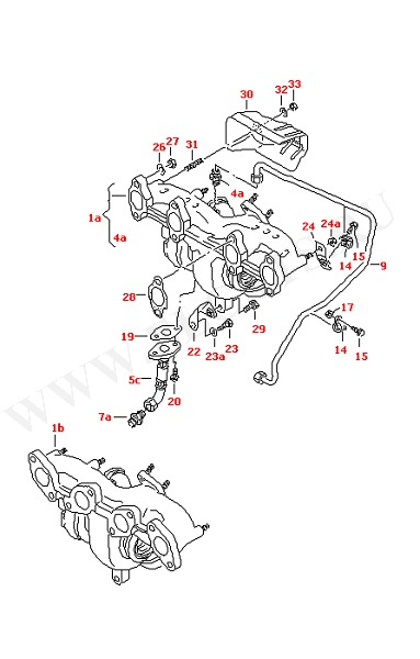 Выпускной коллектор с турбонагнетателем (Двигатель, Сцепление)