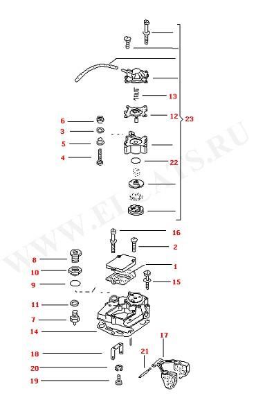 Версии карбюратора Корпус карбюратора, верхняя часть (Двигатель, Сцепление)
