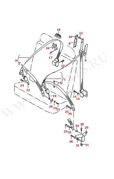 3-точечный ремень безопасности в салоне для 2-местного сиденья для моделей с колесной базой: (Кузов)