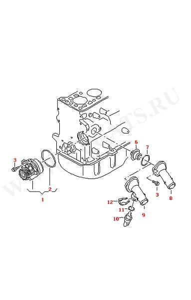 Водяная помпа Соединение (Двигатель, Сцепление)