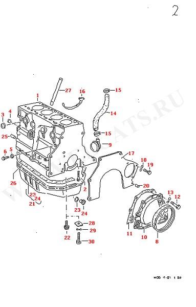 Блок цилиндров Масляный поддон (Двигатель, Сцепление)