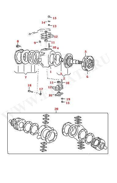 Балка передней оси Поворотный кулак (Передняя ось, Дифференциал, Рулевое управление)
