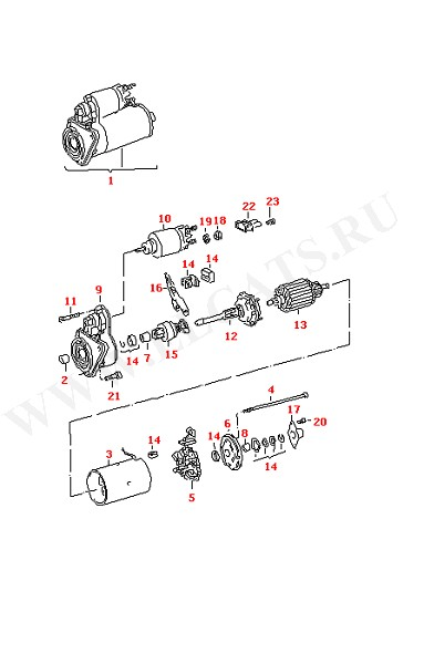 02B911023CX. no replacement part for starter. bearing bush. field coil.