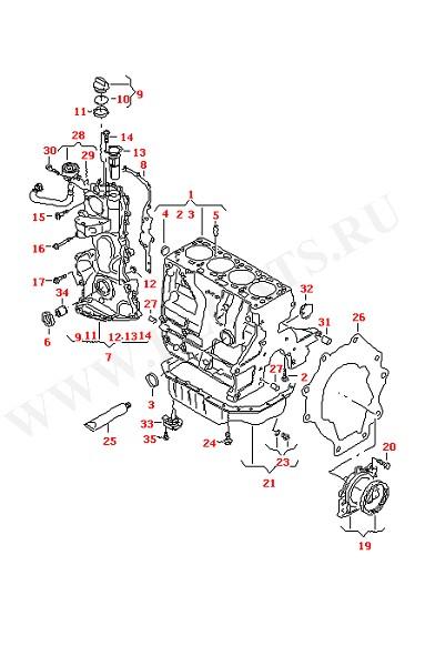 Блок цилиндров с поршнями Картер привода распределительного механизма Масляный поддон (Двигатель, Сцепление)