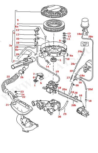 Воздушный фильтр Вакуумные шланги (Двигатель, Сцепление)