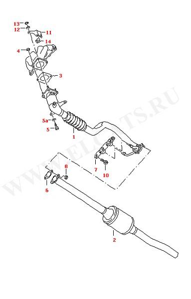 Выхлопная труба с катализатором Катализатор (Топливная система, Система выпуска ОГ, Отопитель)
