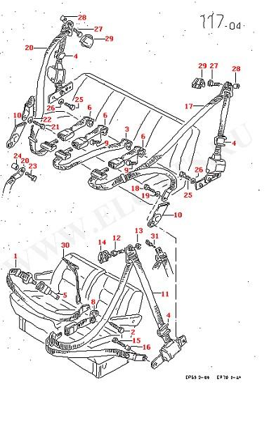 3-точечный ремень безопасности в салоне Поясной ремень безопасности для моделей с 3-местным задним складным сиденьем и 2-местной складной спинкой переднего многоместного сиденья (Кузов)