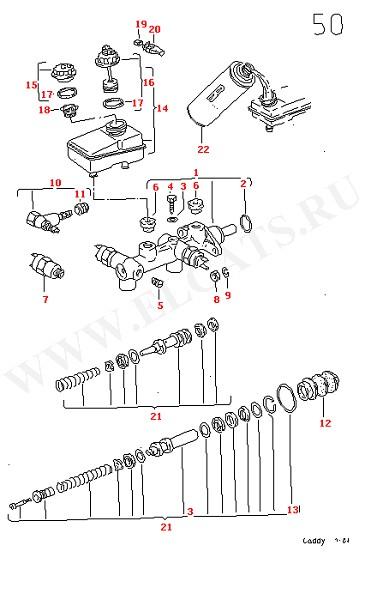 Главный тормозной цилиндр Расширительный бачок (Колеса, Тормозная система)