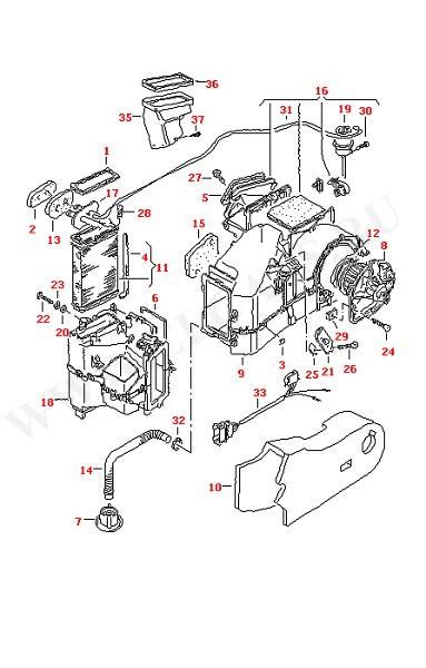Вентилятор Радиатор печки Воздуховод Отопитель (Кузов)