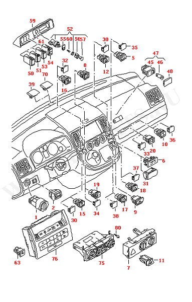 Выключатели на приборной панели Датчик солнца Блок управления кондиционером (Электрика)