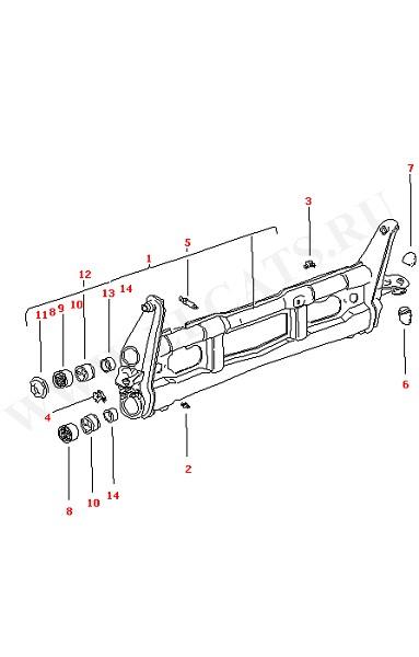 Балка передней оси (Передняя ось, Дифференциал, Рулевое управление)