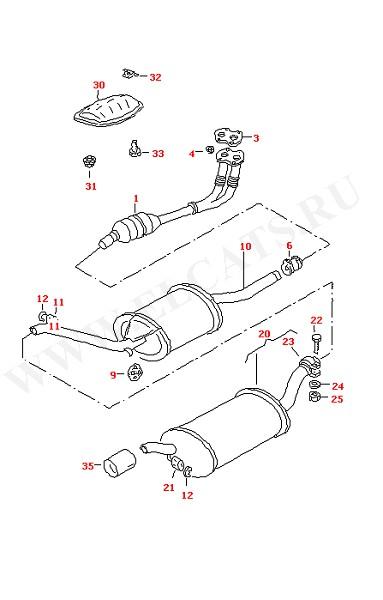 Выхлопная труба Глушитель Катализатор (Топливная система, Система выпуска ОГ, Отопитель)