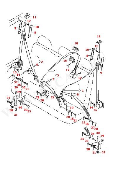 3-точечный ремень безопасности в салоне для 3-местного сиденья (Кузов)