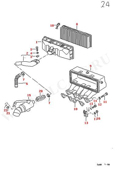 Впускной патрубок Воздушный фильтр Крышка фильтра (Двигатель, Сцепление)