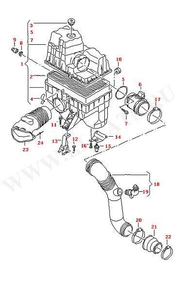 Воздушный фильтр с соединительными частями (Двигатель, Сцепление)