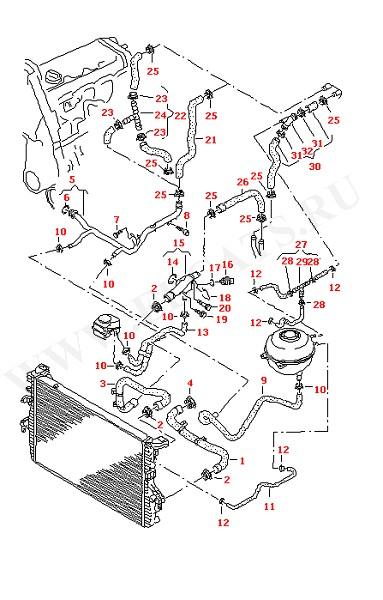 Водяные шланги и трубки с/без Дополнительный отопитель контура охладителя (Двигатель, Сцепление)