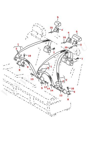 3-точечный ремень безопасности в салоне для моделей с многоместным сиденьем (Кузов)